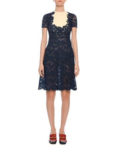 Short-Sleeve Heavy-Lace A-Line Dress w/ Crepe Inset