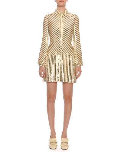 Long-Sleeve Paillette-Ribbon Embroidered Body-Con Mini Dress