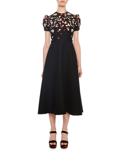 Valentino Short Sleeve Fl Embroidered Mid Calf Crepe Couture Dress