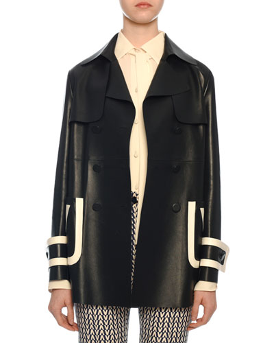 Leather Double-Breasted Contrast-Tipped Coat
