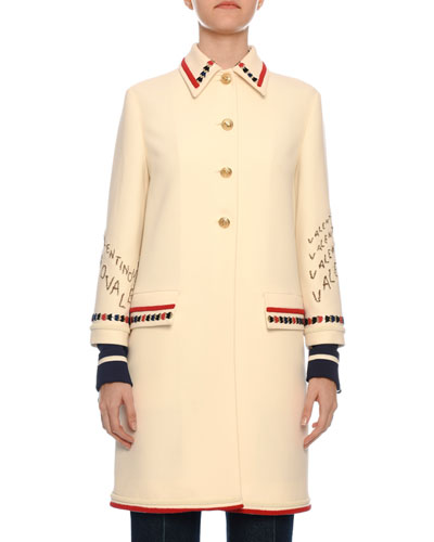 Button-Front Embroidered Crepe Wool Coat