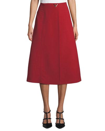 V-Hardware Double-Crepe Midi Skirt