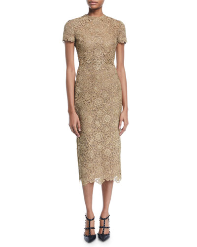 Short-Sleeve Metallic Lace Midi Dress