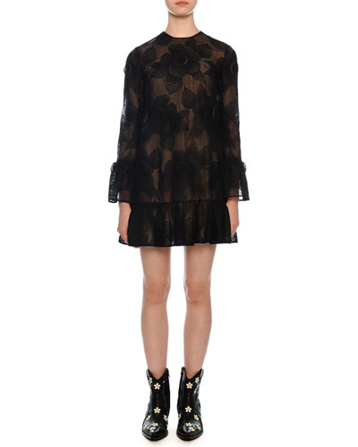 Camelia 3/4-Sleeve Floral-Embroidered Shift Dress