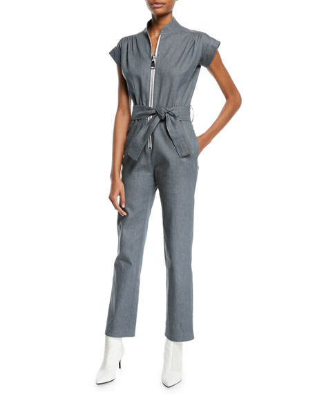 CAROLINA RITZLER Soul Large-Zip Cap-Sleeve Straight-Leg Denim Jumpsuit in Gray