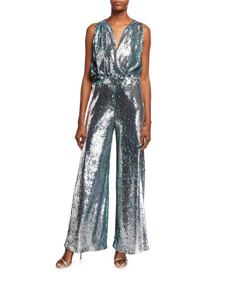 CAROLINA RITZLER Irma Sleeveless Surplice Wide-Leg Allover Sequin Jumpsuit in Silver