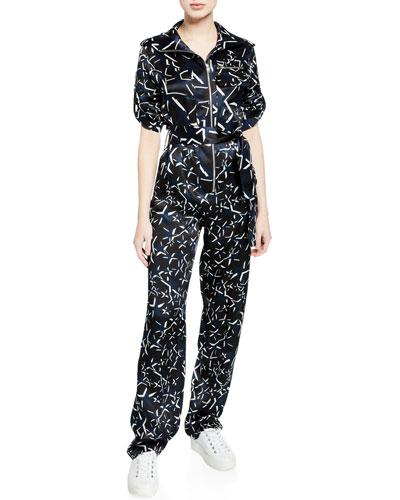 Benjamin Long-Sleeve Printed Jumpsuit