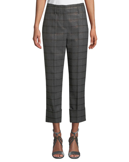 Brunello Cucinelli Metallic Plaid Wool Flannel Straight-Leg