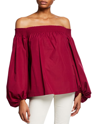 Off-the-Shoulder Exaggerated Balloon-Sleeve Cotton Blouse