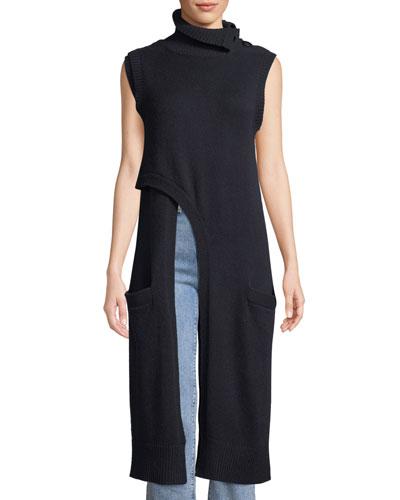Crisscross Turtleneck Italian Cashmere Knit Tunic w/ Convertible Collar
