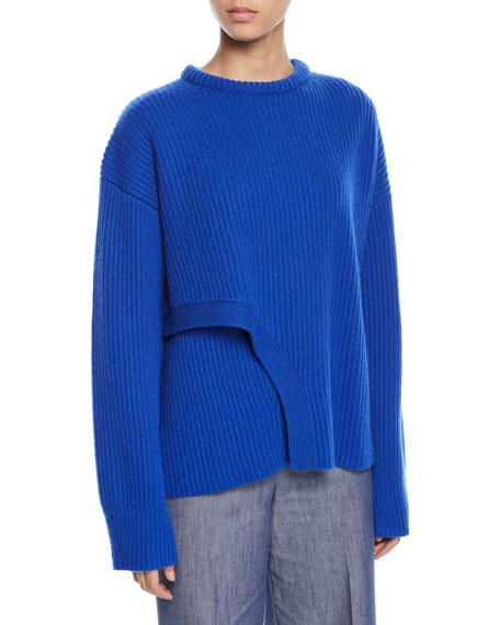 Derek Lam Crisscross Crewneck Ribbed Cashmere Sweater