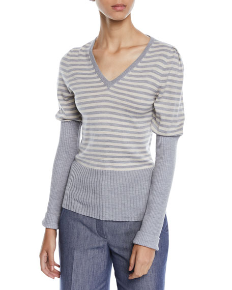 Derek Lam V-Neck Puff-Sleeve Striped Wool Sweater w/
