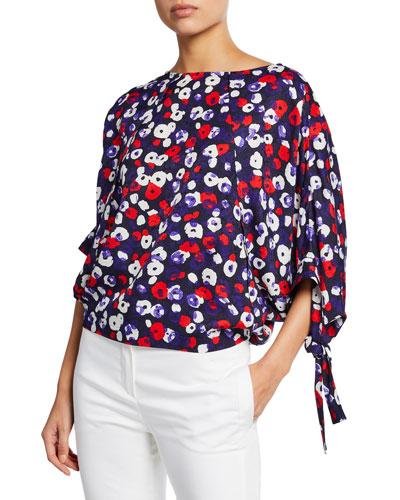 Poppy-Print Raglan-Sleeve Blouse
