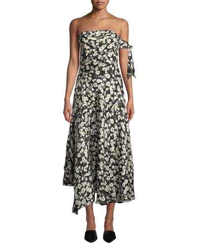 Strapless Poppy-Print Asymmetrical Midi Dress w/ Handkerchief Hem