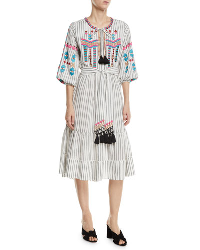Noor Embroidered Pinstriped Peasant Dress