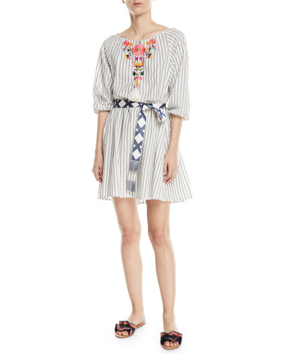 Edette Embroidered Pinstriped Peasant Dress