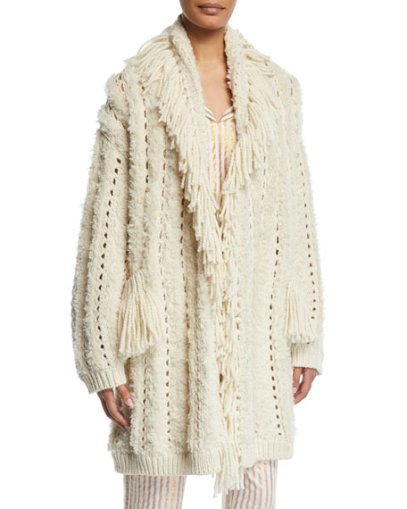 Mila Chunky-Crochet Fringed Open-Front Cardigan in Ivory