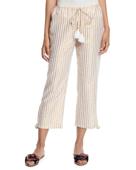 Figue GOA METALLIC-STRIPED CROPPED EASY PANTS