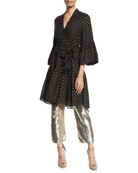 Figue CAROLINE METALLIC DOT KIMONO-STYLE DRESS