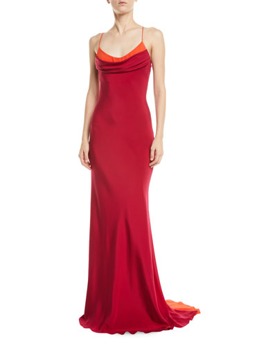 Colorblocked Strappy Silk-Crepe Column Gown