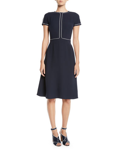 Short-Sleeve Fit-and-Flare Silk Midi Dress w/ Topstitching