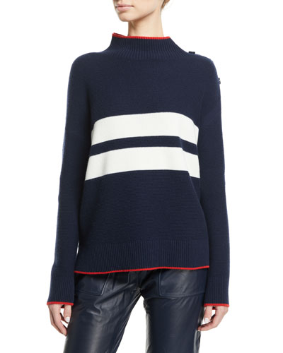 Striped Button-Shoulder Long-Sleeve Striped Cashmere Sweater
