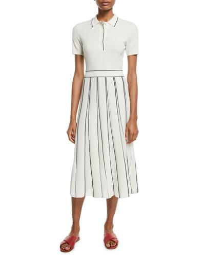 Short-Sleeve Polo-Top Pleated-Skirt Cashmere-Silk Midi Dress