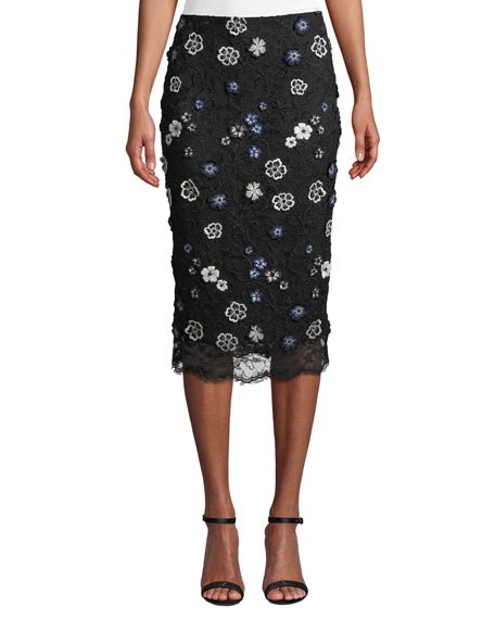 Lela Rose FLORAL-LACE KNEE-LENGTH PENCIL COCKTAIL SKIRT