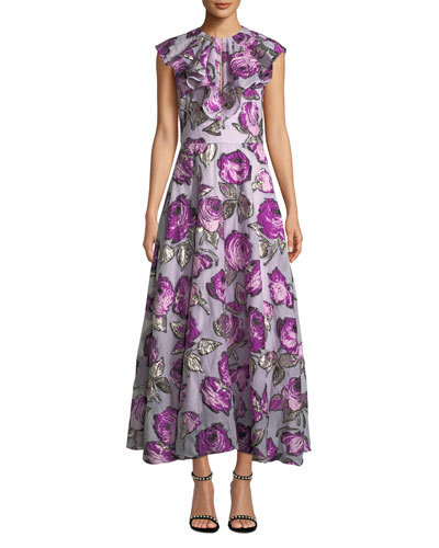 Ruffle-Front Sleeveless Metallic Floral-Brocade Tea-Length Dress