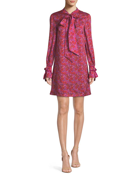 Lela Rose TIE-NECK LONG-SLEEVE FLORAL-PRINT SHIFT TUNIC DRESS