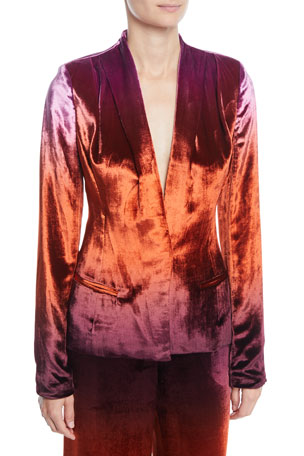 CUSHNIE Shawl-Collar Fitted Degrade Velvet Jacket