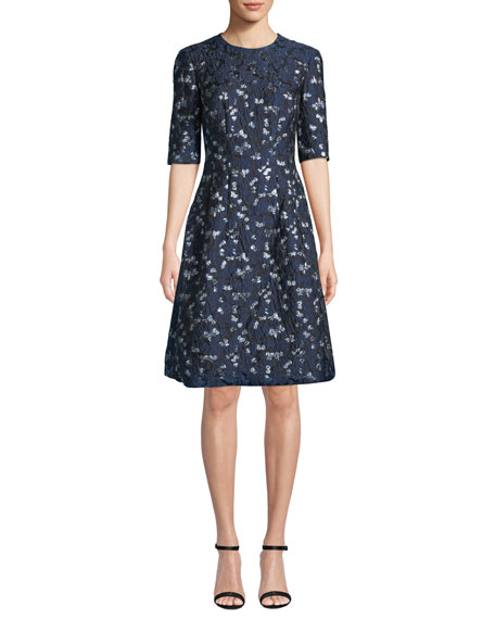 Lela Rose HOLLY ELBOW-SLEEVE FLORAL-BROCADE FIT-AND-FLARE DRESS
