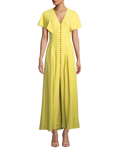V-Neck Flounce-Sleeve Button-Front Maxi Dress