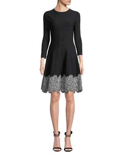 Crewneck Long-Sleeve Fit-and-Flare Dress w/Circle Lace Hem