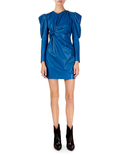 Cove Puffed-Sleeve Twisted Front Leather Mini Dress