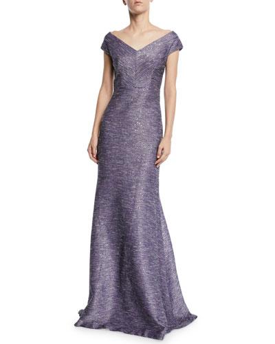 Open V-Neck Tweed Gown
