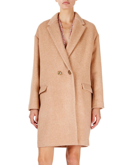 Filipo Long Two-Button Wool-Cashmere Coat in Pink