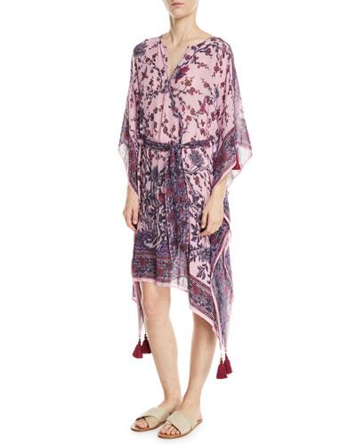 Fabrizi Belted Floral-Print Silk Caftan Dress