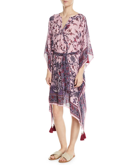 Figue FABRIZI BELTED FLORAL-PRINT SILK CAFTAN DRESS