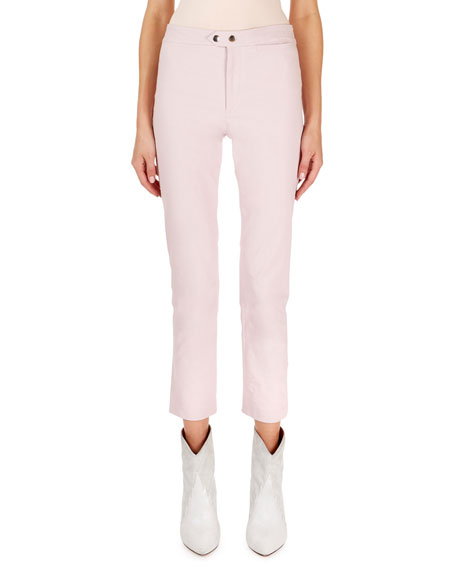 Nila Flat-Front Flared Crop Pants in Light Pink