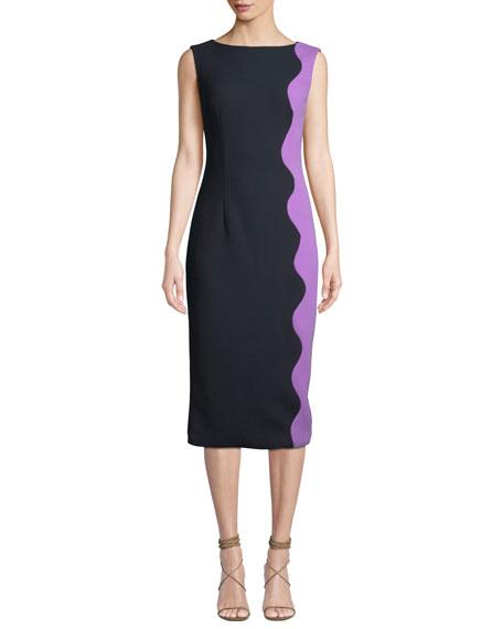 Lela Rose BOAT-NECK SLEEVELESS WAVE-PATTERN SHEATH DRESS