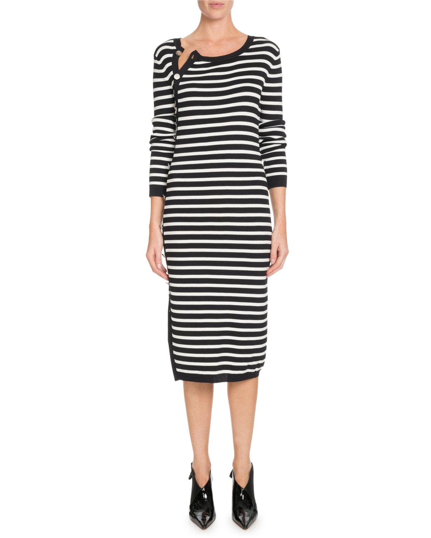 Altuzarra Button-Side Crewneck Long-Sleeve Striped Knit Sweaterdress ... 964a8160f