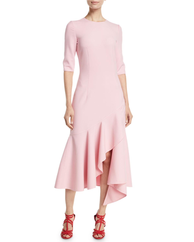 Drop Sleeve Wedding Gowns With: Oscar De La Renta 3/4-Sleeve Drop-Waist Fitted Asymmetric