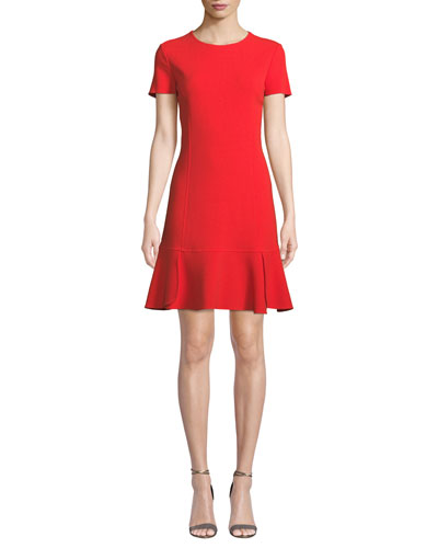 Oscar de la Renta Short-Sleeve Wool-Blend Shift Dress w  Side Pleats b4675044d3192