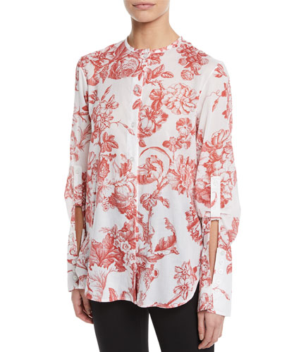 Long-Sleeve Toile-Print Cotton Blouse