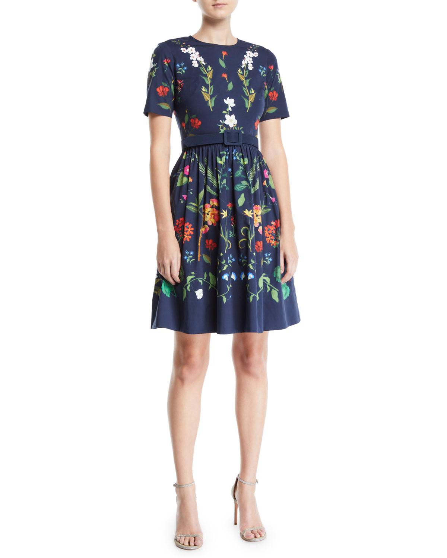 0f911412f0 Oscar de la Renta Short-Sleeve Floral-Print Fit-and-Flare Day Dress ...
