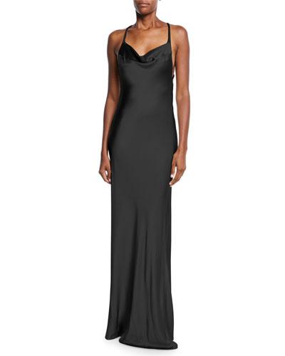Sleeveless Shimmer-Satin Asymmetric-Back Gown
