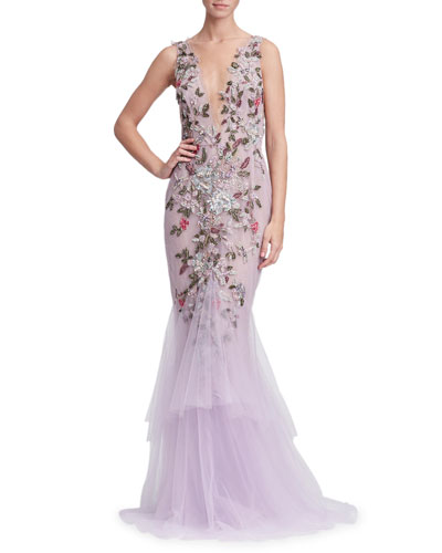 Plunging V-Neck Sleeveless Floral-Embroidered Tulle Evening Gown