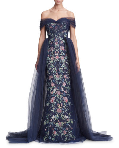 Off-the-Shoulder Floral Tulle Evening Gown w/ Removable Overskirt