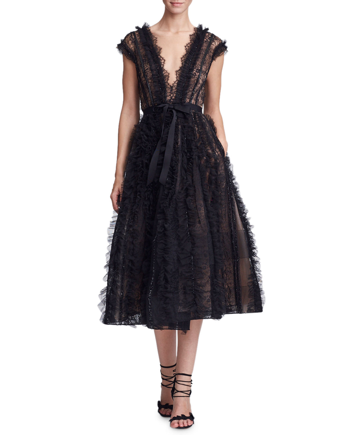 c539fd07f5 Marchesa Plunging V-Neck Lace   Ruffled Cocktail Dress